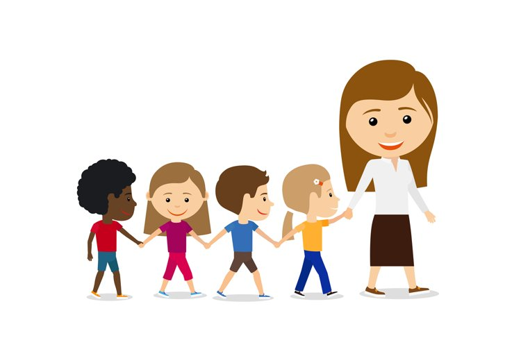 Teacher with kids on white background. example image 1