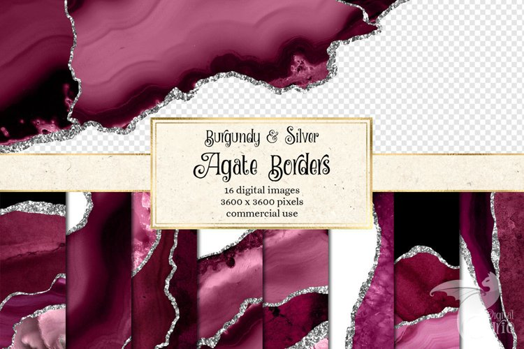 Burgundy and Silver Agate Borders example image 1