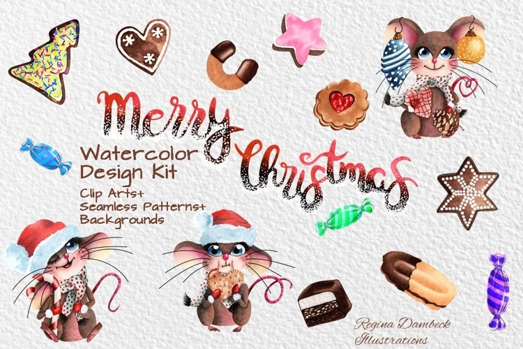 Mouse Christmas Watercolour Clip Art and Pattern Bundle