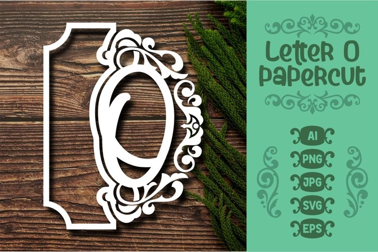 Letter O Papercut SVG Design Template example image 1