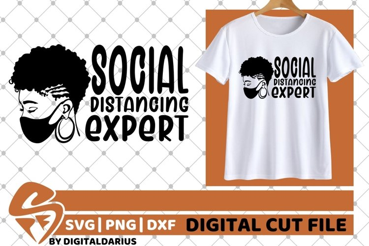 Social Distancing Expert svg, Black Woman with Mask svg example image 1