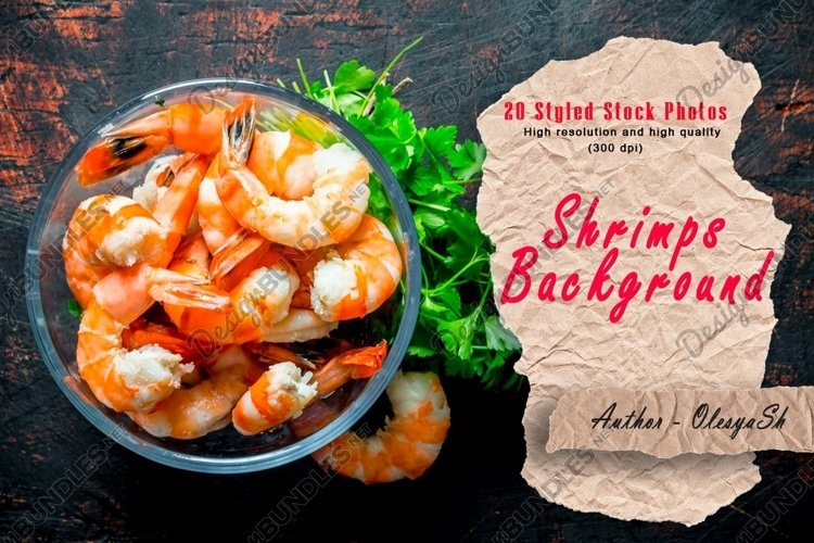 20 Photos Boiled shrimp in bowl. On dark rustic background
