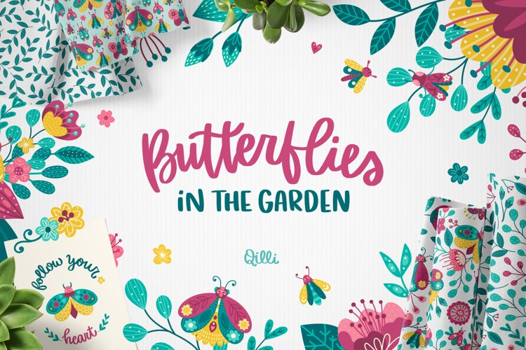 Butterfly in the Garden - Clipart