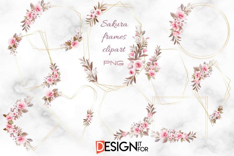 Sakura Frames, Floral Geometric Clipart, Flower Gold Frame