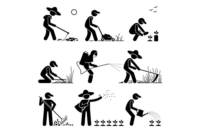Gardener and Farmer using Gardening Tools and Equipment example image 1