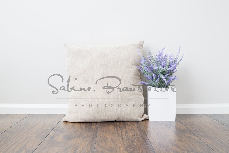 Styled Stock Photography Square Beige Pillow Mockup example image 1