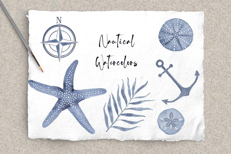 Blue Nautical Watercolor Bundle
