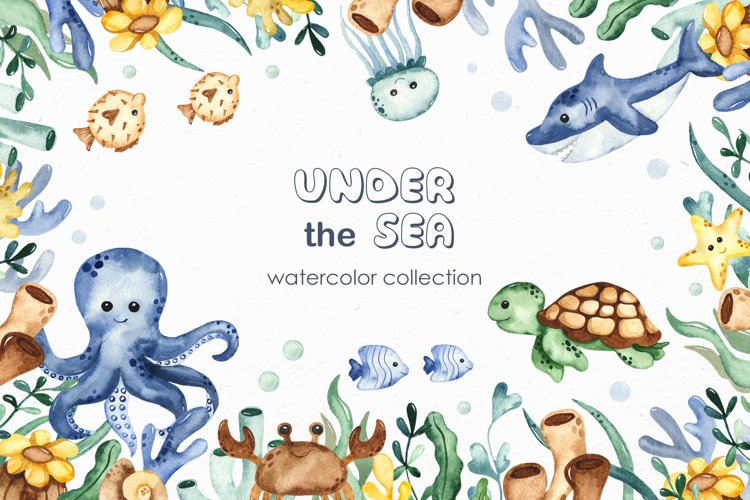 Under the sea. Watercolor clipart, frames, cards, patterns example image 1