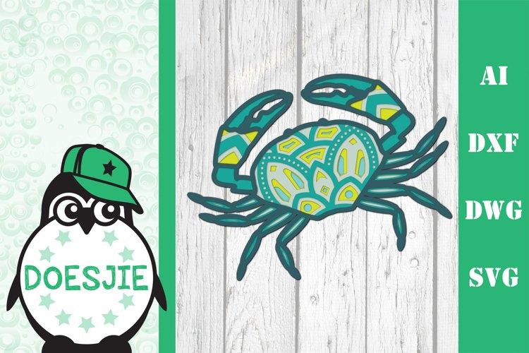 Layered Crab SVG multi layer mandala sea animal nautical 3d example image 1