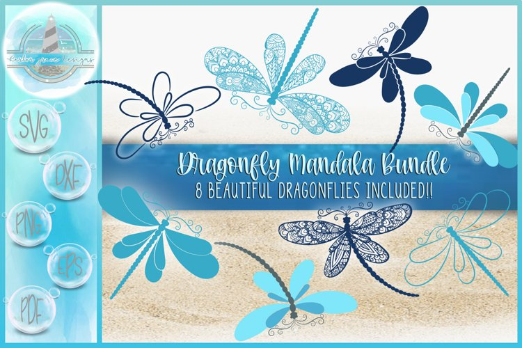 Dragonfly Mandala Zentangle Bundle | Dragonfly SVG example image 1