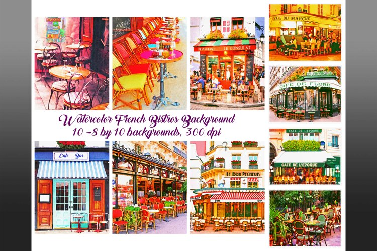 Paris Cafe Watercolor Backgrounds