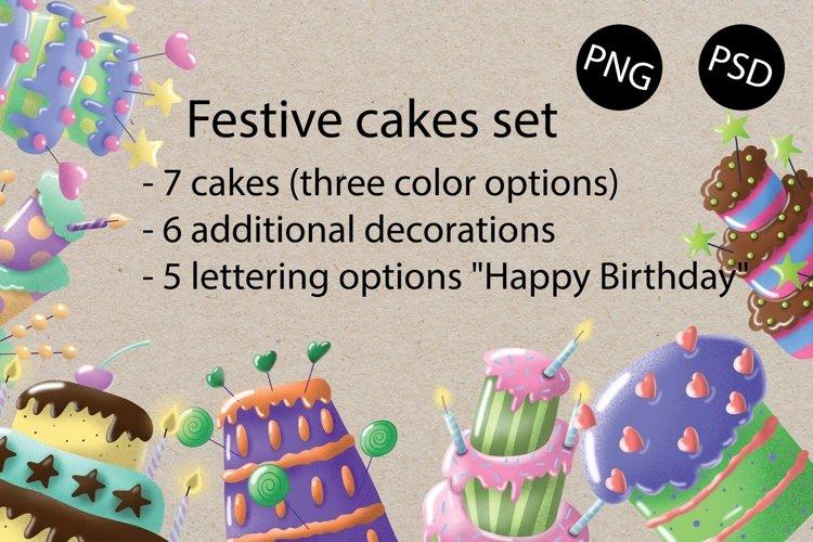 Festive set of cakes