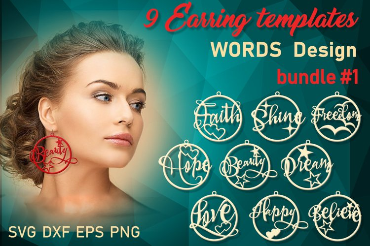 9 Word earrings svg Leather earrings svg Necklace svg example image 1