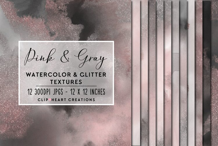 Pink & Gray Glitter Watercolor Digital Papers example image 1