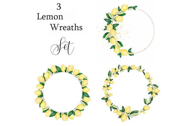 Watercolor Lemon citrus fruit Wreath example image 1