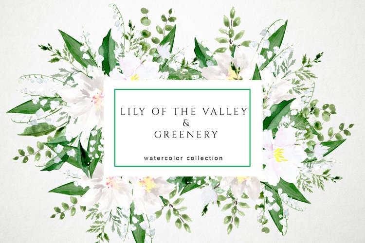 Lily of the Valley and Greenery Watercolor Set