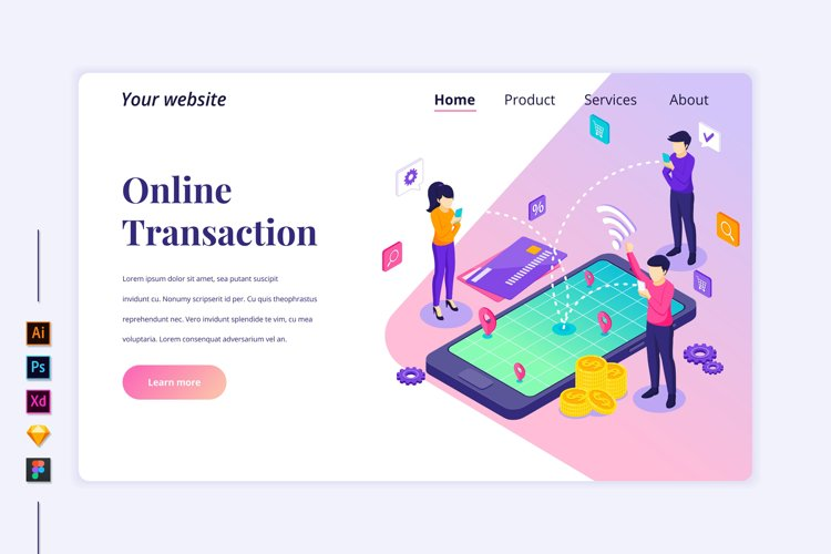 Isometric Online transaction Landing page illustration example image 1