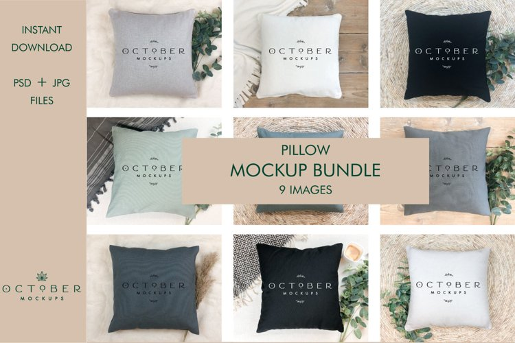 Pillow mockup bundle in PSD and JPG | Sublimation blanks example image 1