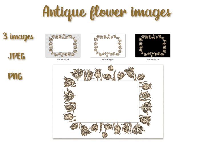 Floral frame from tulips in antique style example image 1