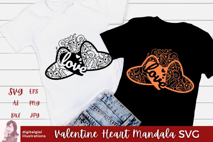 Valentine Heart Mandala SVG |Cut File