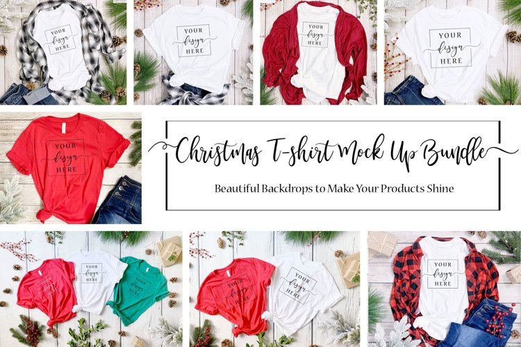 12 Image Christmas Farmhouse Rustic T-Shirt Mockup Bundle example image 1
