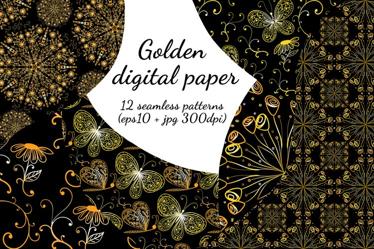 Golden digital paper. Seamless decorative patterns.