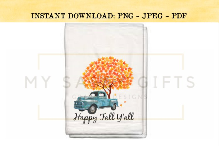 Happy Fall Y'all Rustic Teal Blue Truck With Autumn Tree PNG example image 1