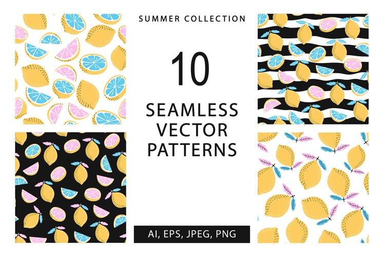 10 seamless summer patterns, 10 banners example image 1