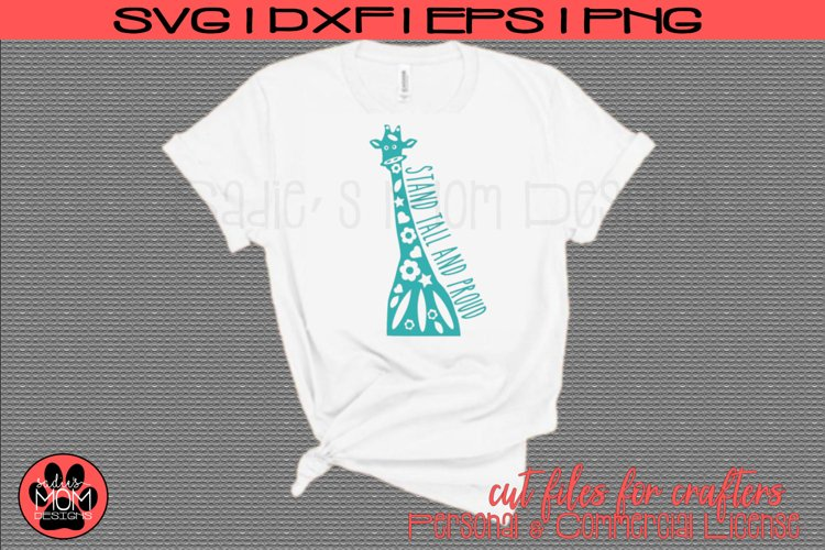 Doodle Giraffe - Stand Tall and Proud | SVG Cut File example image 1