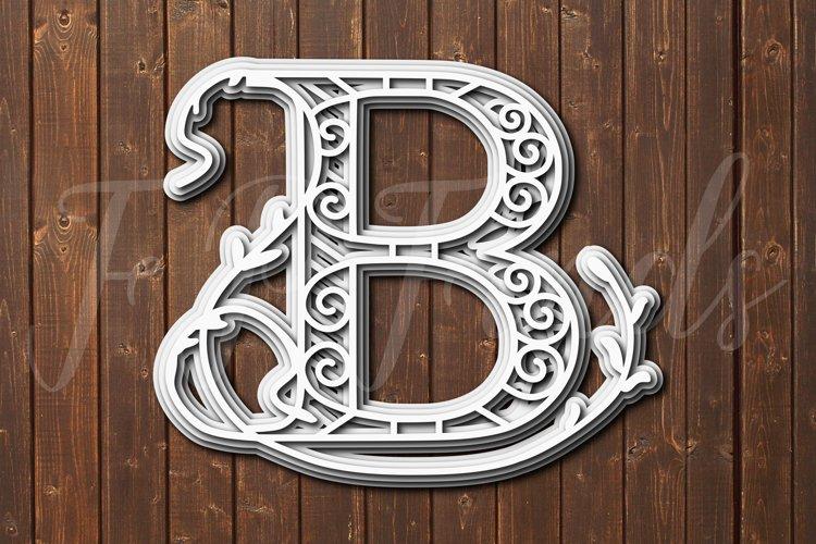 Letter B Laser Cut File SVG Floral Letter SVG Glowforge SVG example image 1