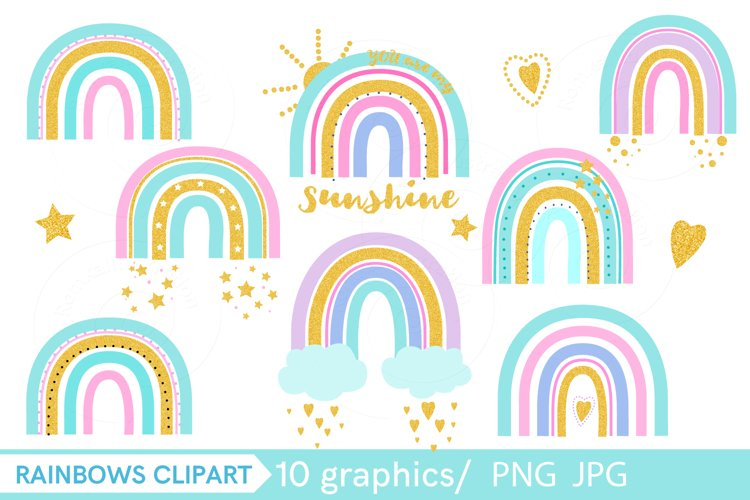 Golden rainbow with glitter clip art PNG, example image 1