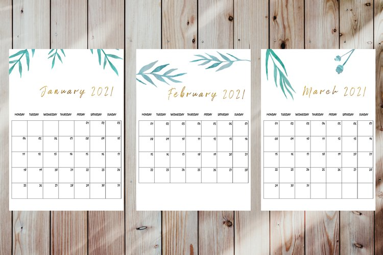 Printable 2021 Monthly Planner and Calendar A3 format. example image 1