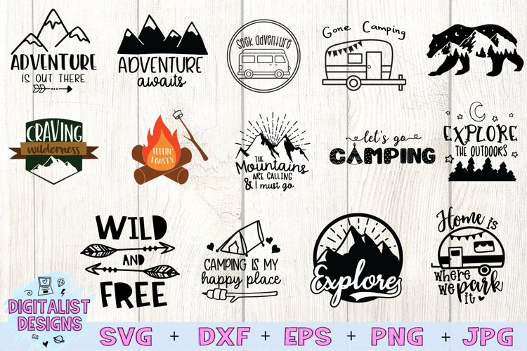 Happy Camper SVG Bundle, 14 Camping SVG Designs example image 1