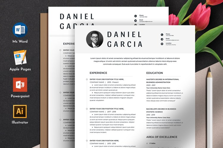 Clean Editable Resume Cv Template in Word Apple Pages Format example image 1