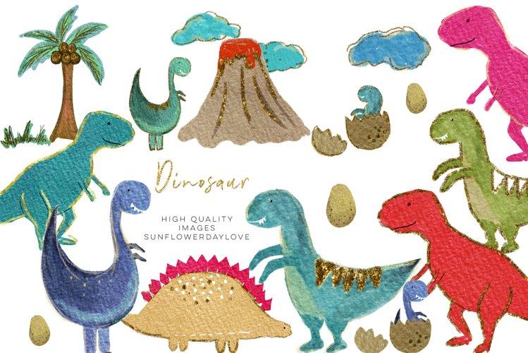 Colorful Dinosaur watercolor clipart, Cute Dinosaur Clipart