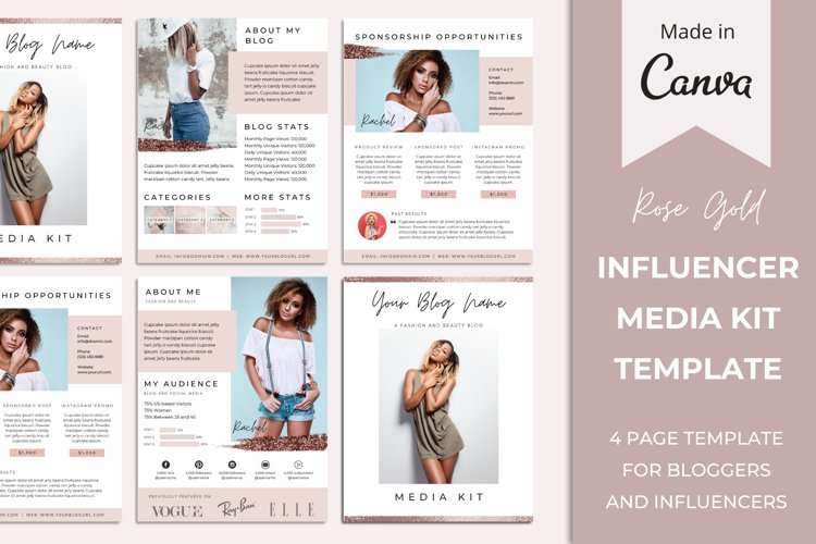Media Kit Template for Bloggers and Influencers   Rose Gold