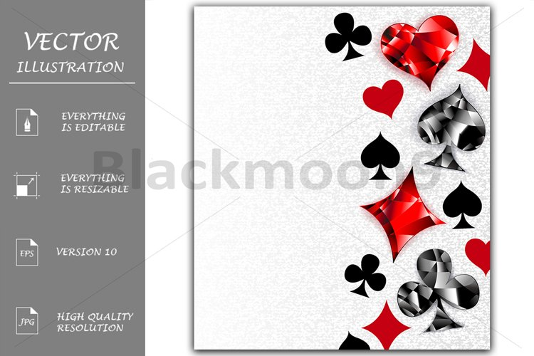 Gray Background with Polygonal Playing Cards Symbols example image 1