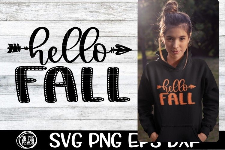 SVG - Fall - Hello Fall - Arrow - SVG PNG EPS DXF example image 1