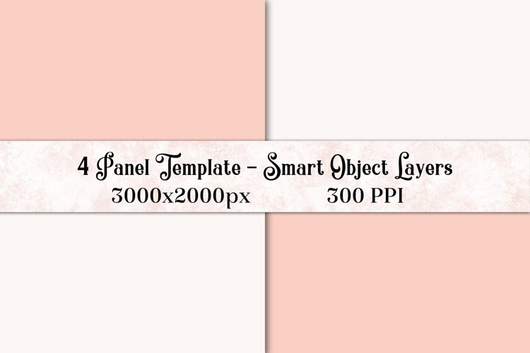 4 Panel Photoshop Template / Mockup with Smart Object Layers example image 1