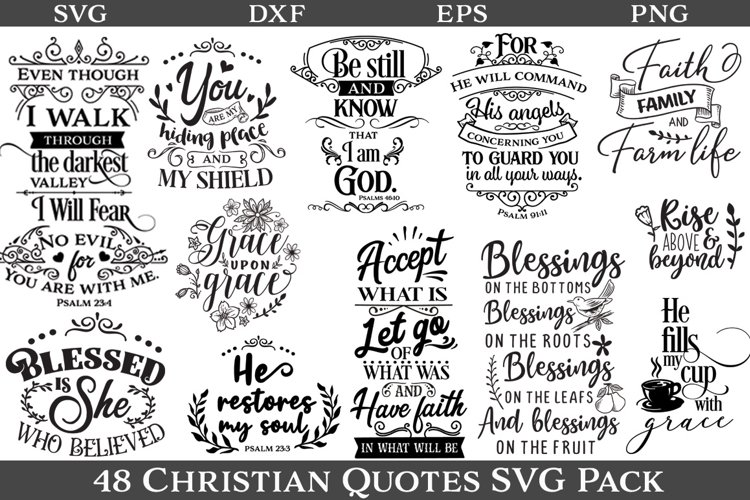 48 Christian Quotes SVG Pack example image 1
