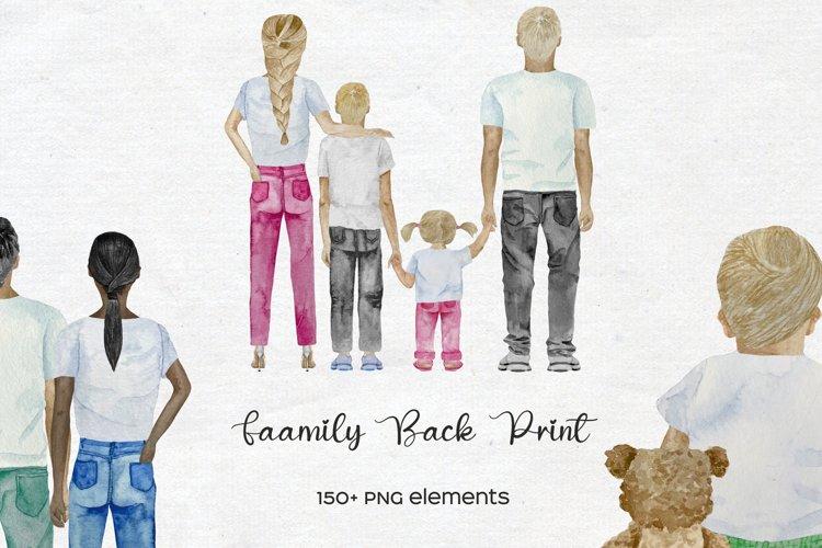 Watercolor Family Back Print