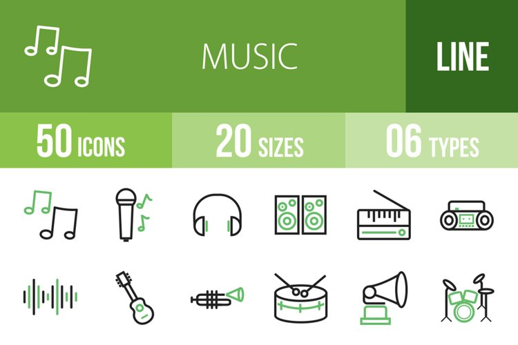 50 Music Line Green & Black Icons example image 1