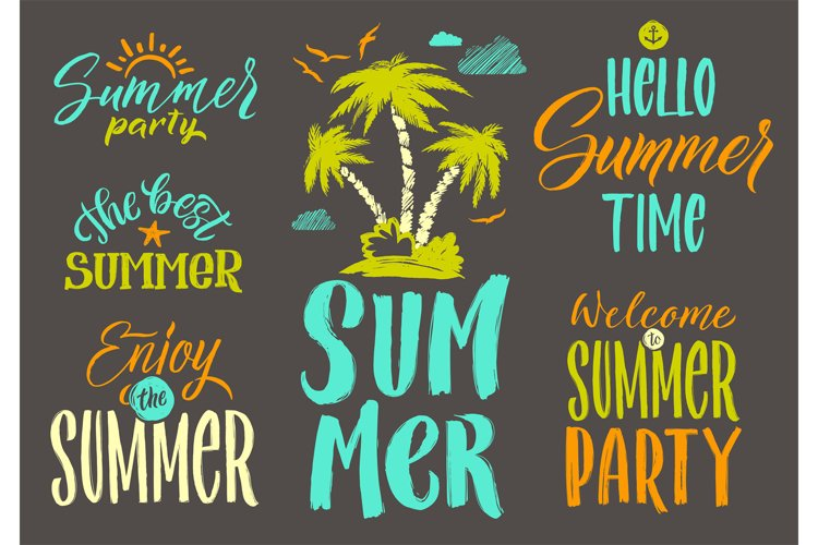Handwriting vector words set for summer postcard decoration. example image 1