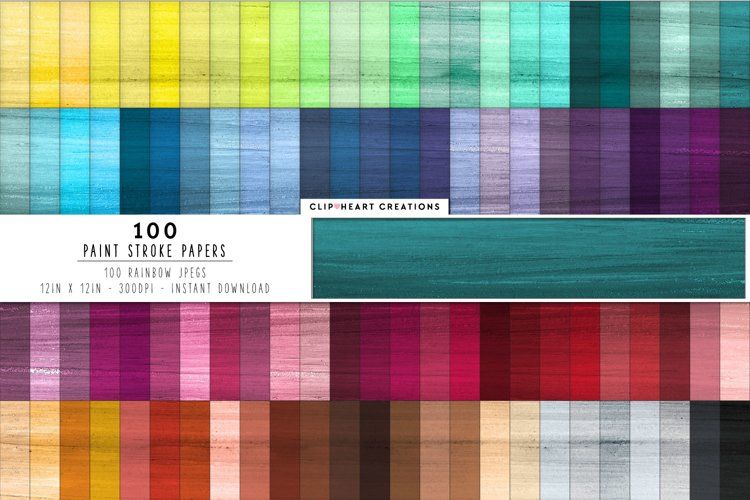 100 Paint Stroke Texture Digital Papers in Rainbow Colors example image 1