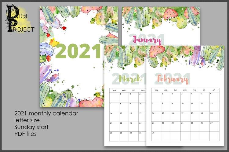 2021 Succulent Wall Calendar, Printable Watercolor