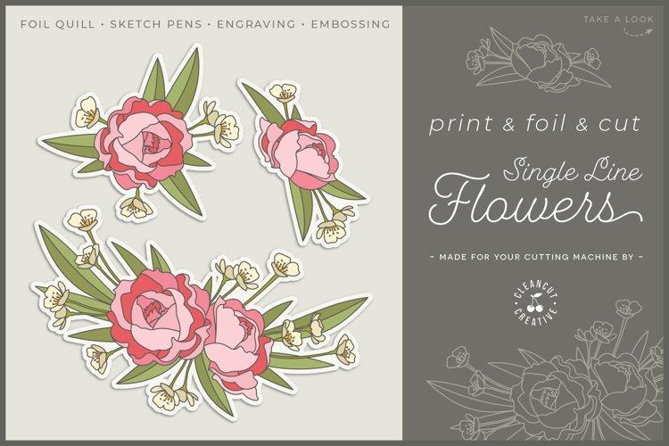 Foil Quill Flowers | Print & Foil single line sketch design example image 1
