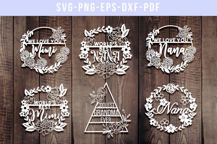 Download Bundle Of 6 Grandma Papercut Templates Nana Mimi Svg Dxf 257464 Paper Cutting Design Bundles