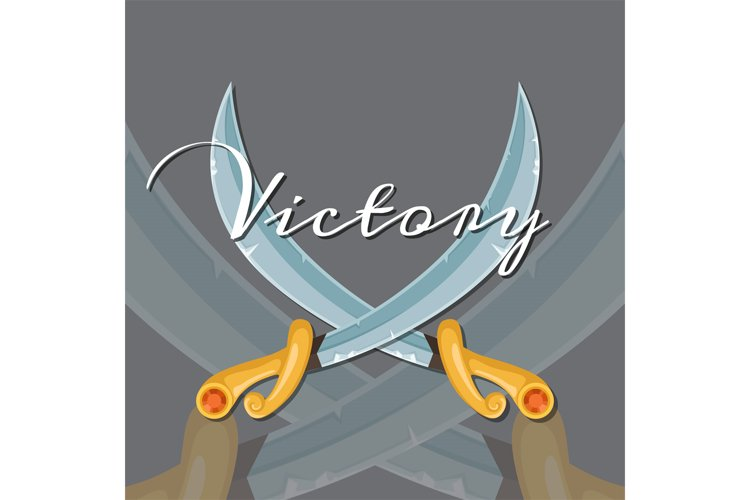 Vector fantasy cartoon style game design medieval crossed sa example image 1