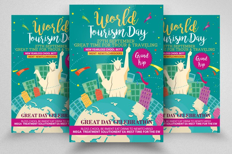Happy World Tourism Day Flyer Template example image 1