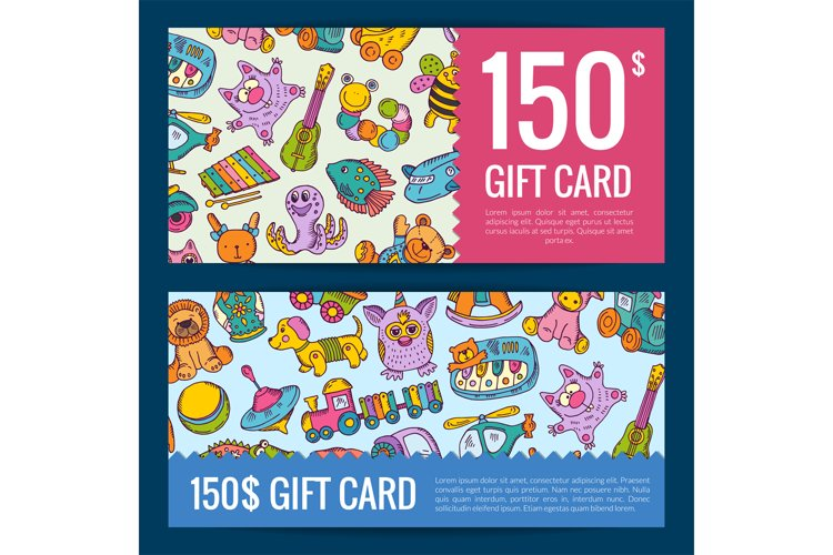 Vector discount or gift voucher with hand drawn colored kid example image 1